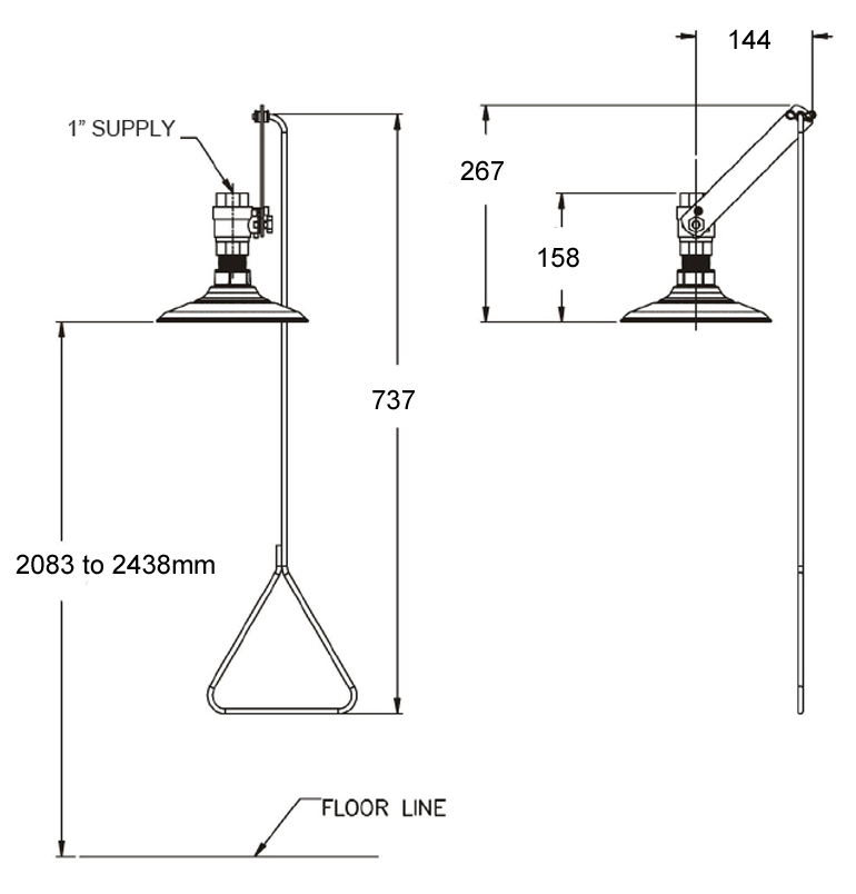 ceiling mounted emergency shower dimensions
