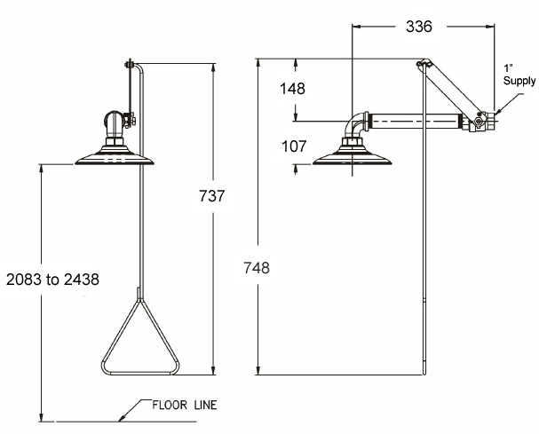 wall mounted safety shower dimensions