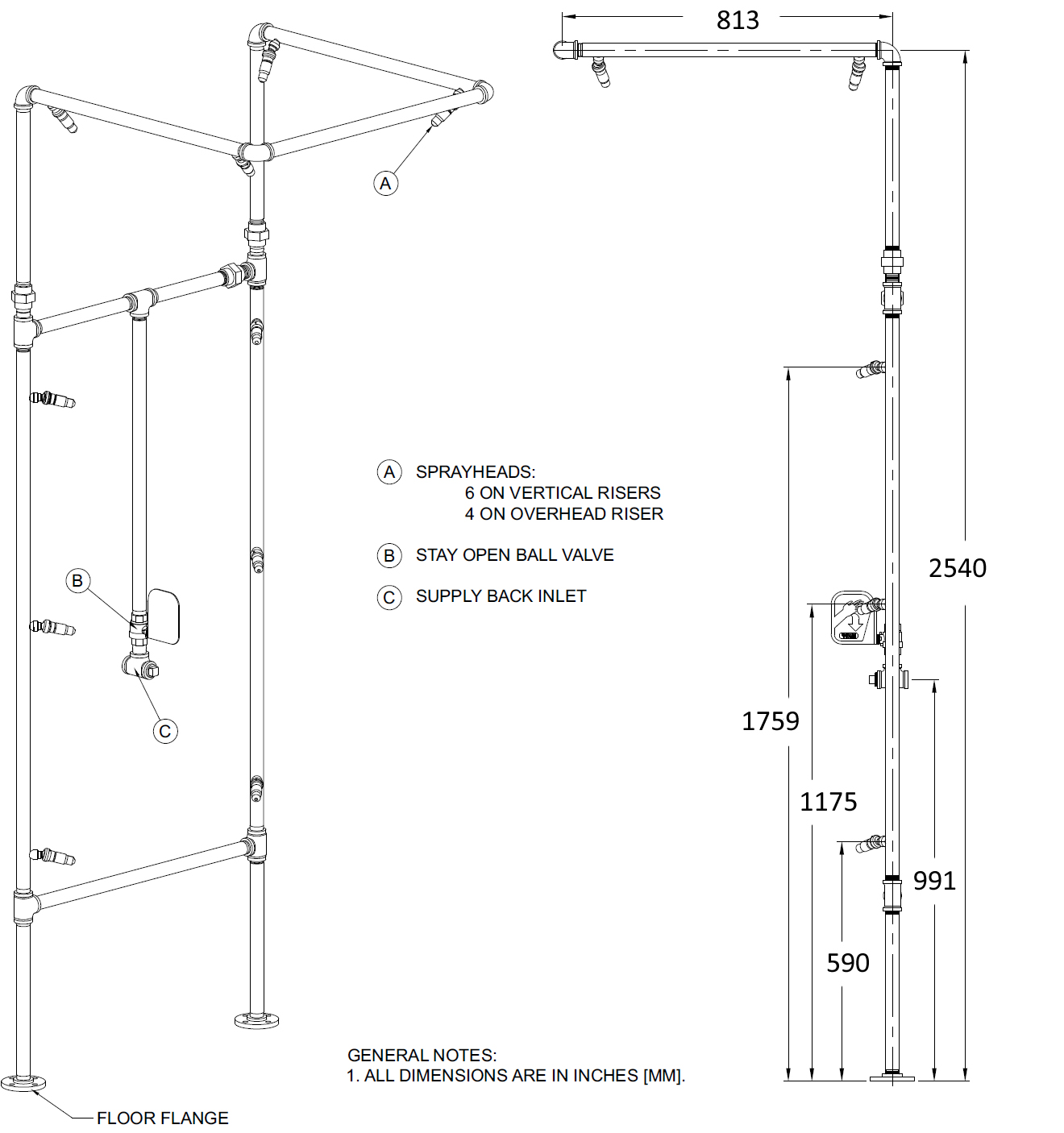 decontamination shower dimensions