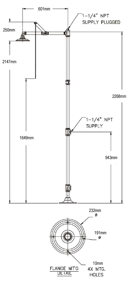 freestanding safety shower dimensions