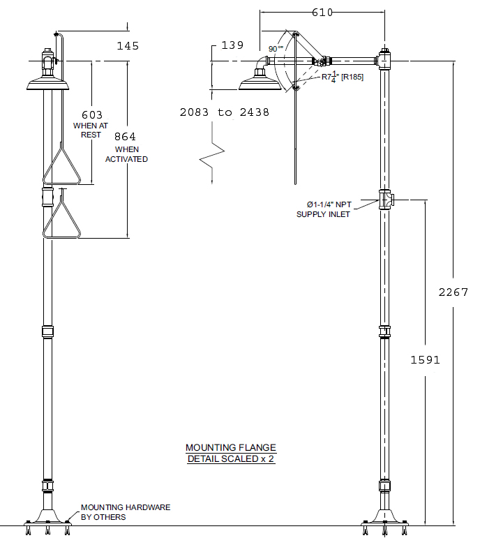all stainless steel safety shower dimensions